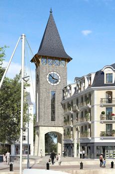 Projet de construction d'un clocher équipé de 4 horloges sur les bords du port de la presqu'île de la touque à Deauville.